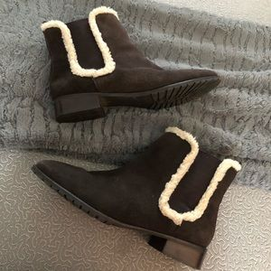 Talbots Sherpa Lined Pull-On Suede Ankle Booties
